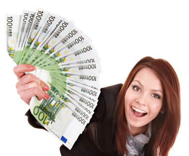 Young woman holding euro money. Isolated.